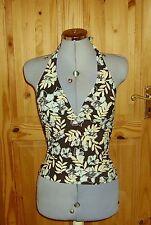 Brown blue beige hawaiian tropical floral stretch bikini tankini swimwear top 10