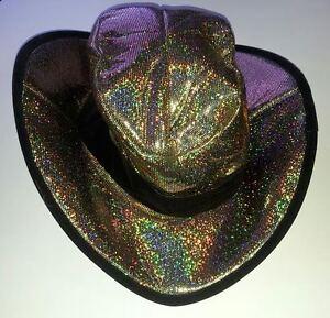Image is loading Black-amp-Gold-Holographic-Club-Cowboy-Hat 3c032217211d