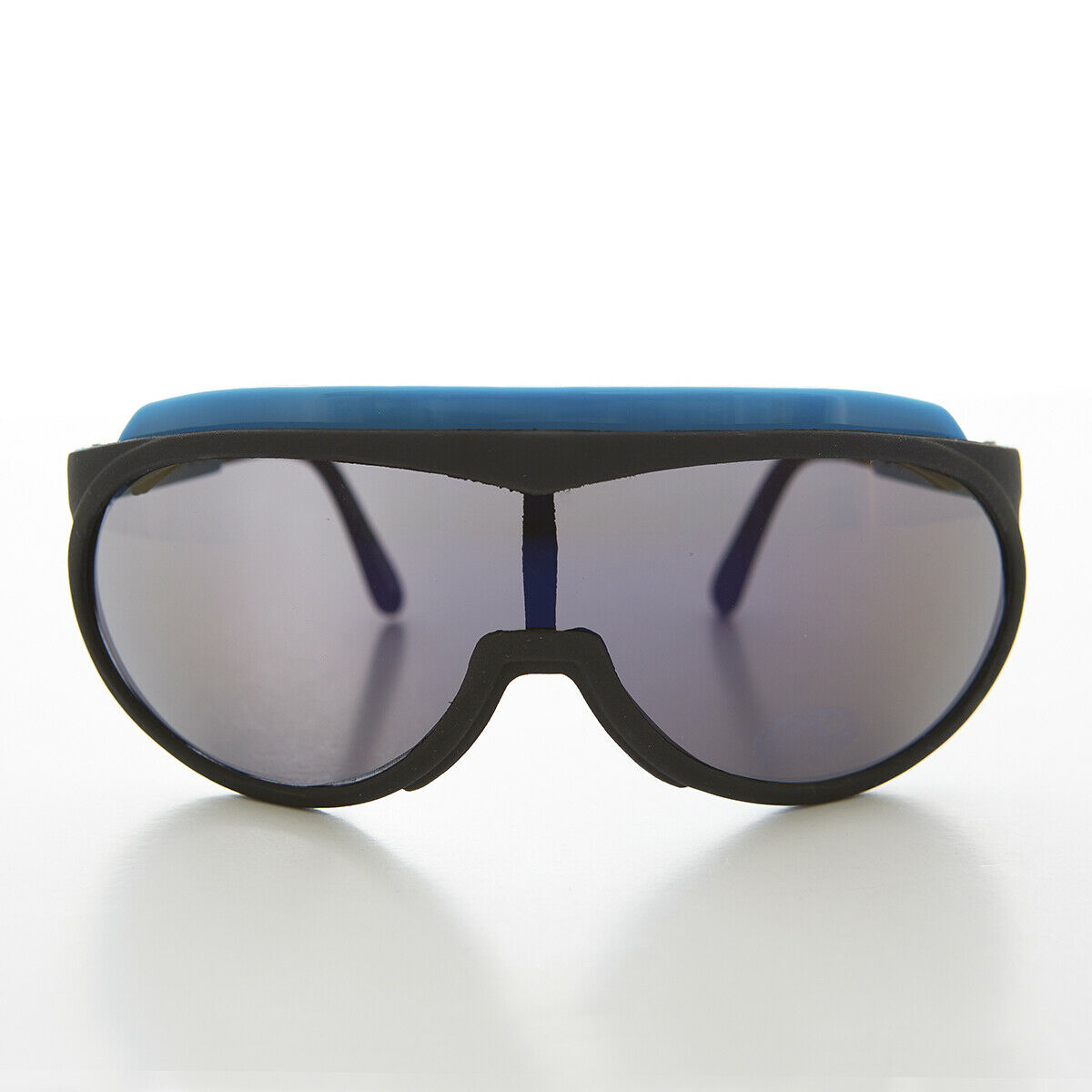 80s Neon Sports Shield with Mirror Lens Blue Brow Bar - Mondo
