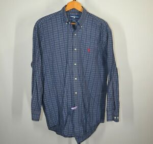 Ralph-Lauren-Polo-Large-Long-Sleeve-Button-Front-Shirt-Blue-Plaid