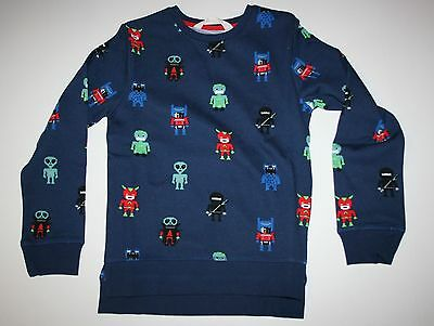 H/&M Kids Boys T-Shirt Long Sleeve Printed Dark Blue NWT SZ 6-8Y NWT