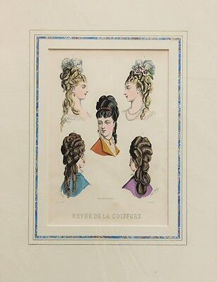 2 Large Victorian Colour Fashion Prints, Hair Styles, Coiffures, Mounted
