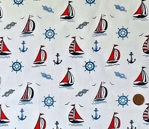 WHITE-WITH-A-DESIGN-OF-SAILING-BOATS-100-COTTON-FABRIC-FQ-039-S