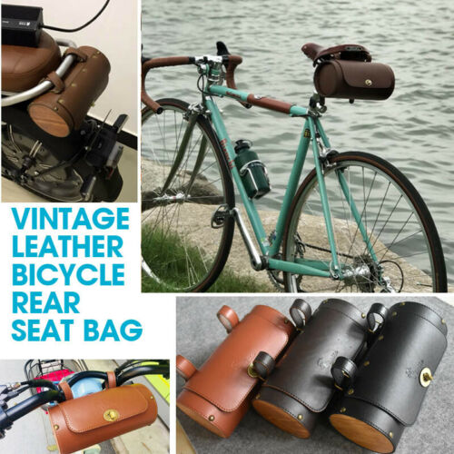 Pannier Cycling Pouch Vintage Wood Leather Bike Saddle Tail Bag Bicycle Seat Bag