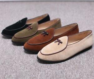 Belgian-Mens-Bowtie-Loafers-shoes-Suede-Slippers-Flats-With-Slip-on-Dress-Shoes