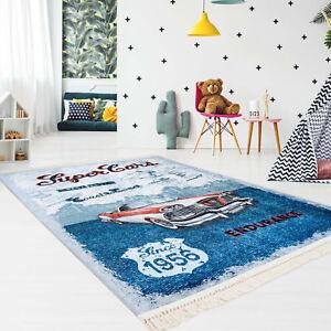 Kinder Teppich Flachflor Polyester Waschbar Super Cars Blau Mit