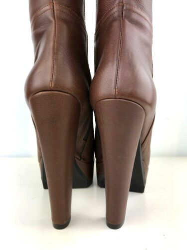 BOOT STIEFEL STIVALI ITALY PLATFORM REAL LEATHER FUR MINK LIGHT BROWN MARRONE 37