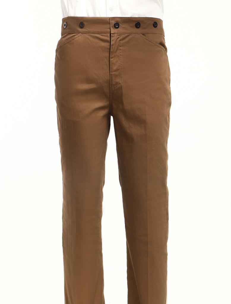 Men's Vintage Costume Pants Victorian Brown Retro gentleman casual Trousers