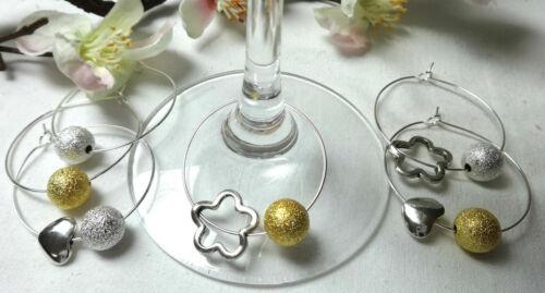 Or /& argent set verre de vin pendentif Flûte à champagne glasmarkierer fête verre décoration