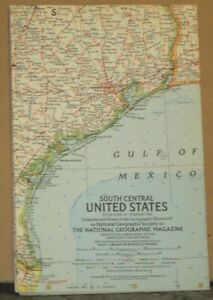 1961 National Geographic Map Of South Central United States Ebay - National-geographic-us-map