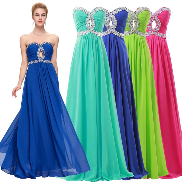 PLUS SIZE Beaded Long Formal Bridesmaid Dresses Evening Prom Cocktail Party Gown