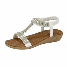 c2852044dbb item 1 Ladies Faux Leather Jewel T Bar Open Toe Elastic Sling Back Low  Wedge Sandals -Ladies Faux Leather Jewel T Bar Open Toe Elastic Sling Back Low  Wedge ...