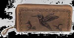 Damen-Geldboerse-Kolibri-Naturleder-Bueffelleder-Rustikal-RFID-NFC-Handyfach