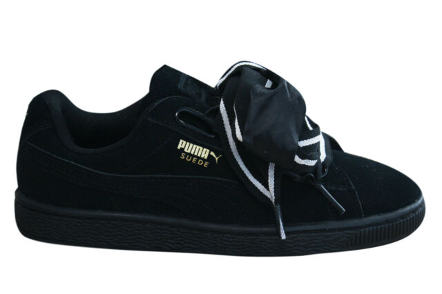 Puma Suede Heart Satin II Womens Trainers Lace Up Shoes Black 364084 01 D25 a1b4bbae5