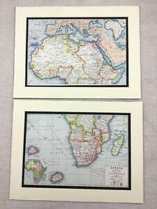 1920-Antik-Aufdruecke-Karte-von-Afrika-St-Helena-Ascension-Inseln-Madagaskar