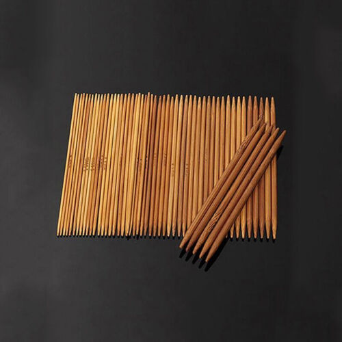 55PCS Bamboo Knitting Needles Crochet Hooks Set Double Pointed Sweater 11 Size