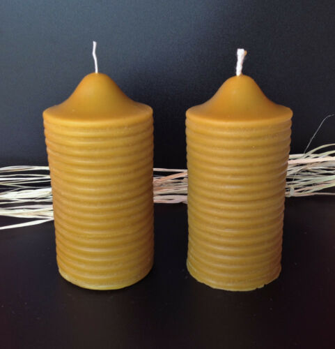 2 pcs naturel fait main cire d/'abeille bougies