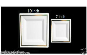 Image is loading Tableware-set-wedding-party-disposable-plastic-plates- square-  sc 1 st  eBay & Tableware set wedding party disposable plastic plates square gold ...