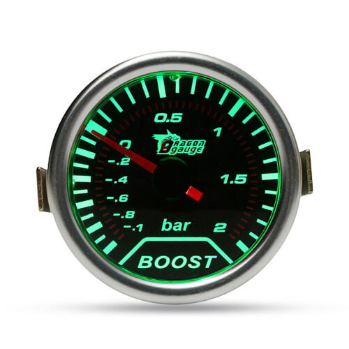 Chrome Ring 52mm 2 Inch Green LED BAR Turbo Pressure Boost Gauge Smoked Dial