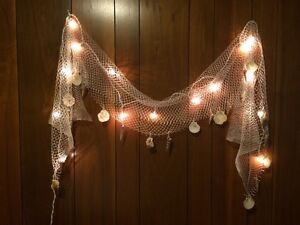 Details About Fish Net Sea Shells Light Strand Outdoor Indoor Nautical Seaside String Lights