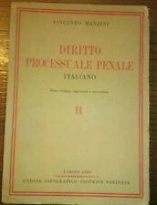 DIRITTO PROCESSUALE PENALE ITALIANO Vol II Vincenzo Manzini Giuridica