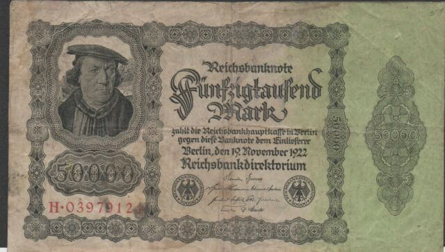 Germany 50000 Mark  19.11.1922  Prefix H. Circulated Banknote