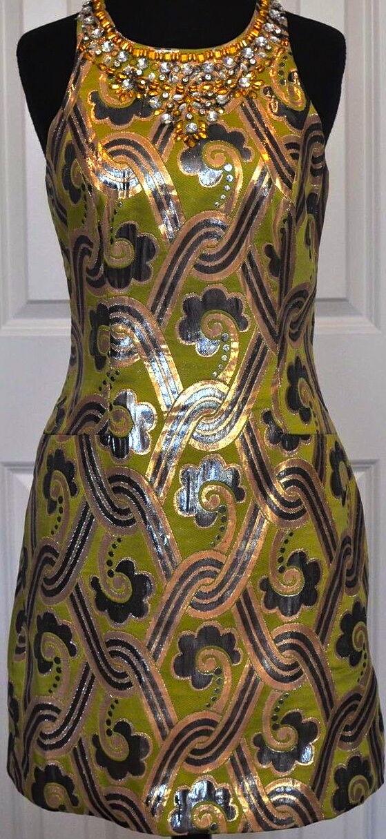 358.00 Nuevo con etiquetas  LILLY PULITZER Metálico Brocade Vintage Vestido 0,8 Hermoso     contador genuino