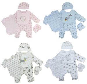 Baby-Sleepsuit-Vest-Bib-Mitts-Cradle-Cap-Layette-Five-Piece-Set-Boy-Girls-Unisex