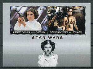 TCHAD-2018-CTO-Star-Wars-Princesse-Leia-Carrie-Fisher-2-V-M-S-films-film-timbres