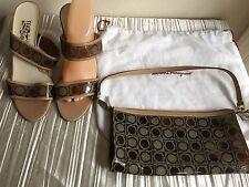 Salvatore Ferragamo strap vinyl/leather sandal 3in heels 10B plus matching purse