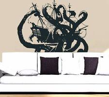 Wall Decal Vinyl Sticker Pirates Ship Skull Guns Boat Octopus tentacles r802
