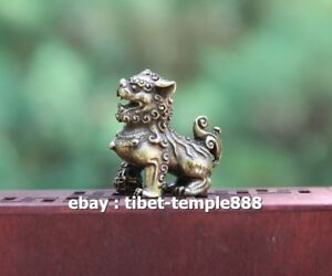 3-CM-Chinese-Pure-Bronze-Foo-Dog-Lion-Beast-Animal-Play-Ball-Amulet-Sculpture