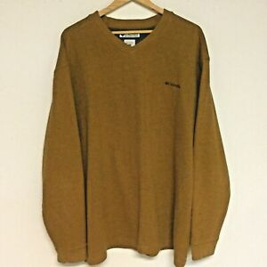 Columbia-V-Neck-LS-TAN-Sweatshirt-SWEATER-Cotton-Blend-Men-s-XXL-209-AM-6995
