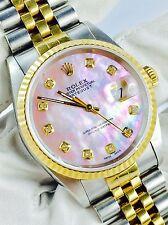 Rolex Datejust 16233 Stahl Gold 36mm Perlmutt Diamanten Zifferblatt