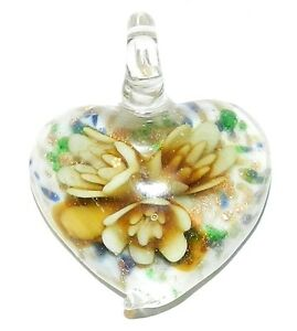 P1149-Yellow-Flower-amp-Bronze-Sparkle-42mm-White-Heart-Lampworked-Glass-Pendant