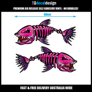 Bad-Ass-Skeleton-Fish-Boat-Stickers-x2-15cm-fishing-tackle-tinnie-graphics-pink