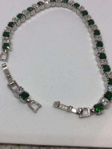 Grün Smaragd Weiß Topas Tennis Edelstein Sterlingsilber 925 Kette Armband