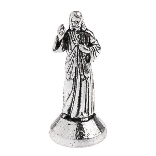 """1.96/"""" Mini Portatile Gesù Cristo Statua Statuina Decorazione Regalo Argento"""