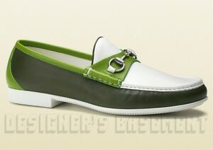 ed889d1b0ae GUCCI mens 11.5  olive green RAFER rubber sole HORSEBIT Loafer shoes ...