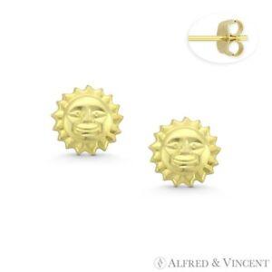 888632fcc Smiling Face Sun Beach Summer Celestial Charm 14k Yellow Gold Boho ...