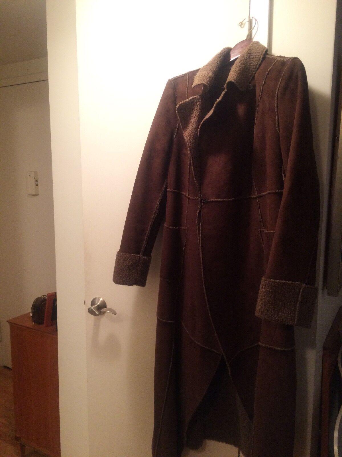 Inc. INTERNATIONAL CONCEPTS FAUX SHEARLING Women's Brown Coat, Sz L
