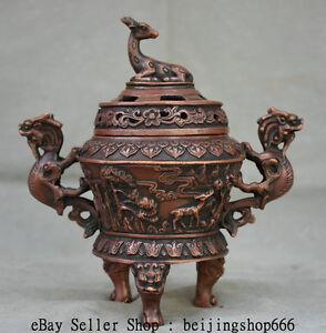 7-034-Marked-Old-Chinese-Red-Bronze-Deer-Dragon-Handle-3-Legs-Incense-Burner-Censer