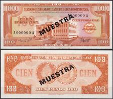 Republica Dominicana 100 PESOS Banknotes 1964 UNC P.104s SPECIMEN XRAR    (11488