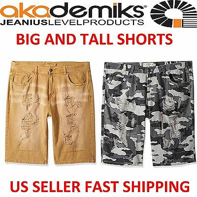 BIG AND TALL AKADEMIKS RIPPED CAMO SHORTS POCKETS COTTON 44~54 100% COTTON