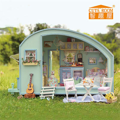DIY Time Travel Dollhouse Cute Caravan Doll house Miniature Kit Kids Play Gifts
