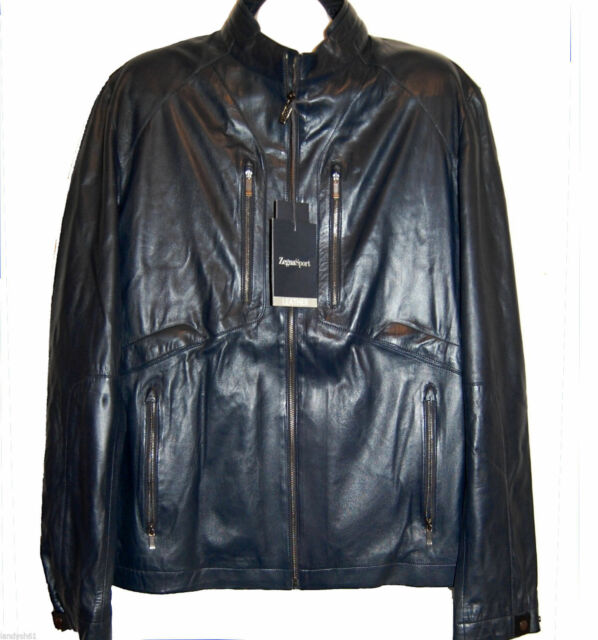 2126ca014bb Frequently bought together. Zegna Sport Men s Navy Dark Blue Water  Repellent Soft Leather Jacket ...
