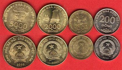 VIETNAM SET 4 COINS 200 500 1000 5000 DONG 2003 UNC