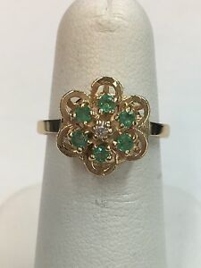 14K-Yellow-Gold-Emerald-Cluster-Ring-Size-6