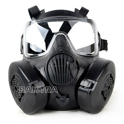 Outdoor  Tactical Airsoft Painball Black Full Face Skull Gas M50 Mask