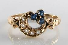 SUBLIME 9K 9CT GOLD BLUE SAPPHIRE & PEARL MYSTIC SUN MOON RING FREE RESIZE